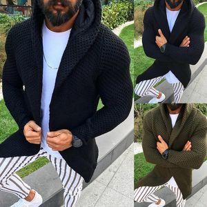 WENYUJH мужчины с капюшоном кардиган свитер осень с длинными рукавами вязаные пальто открытый фронт мужская толстовка верхняя одежда пальто 2019 новое поступление