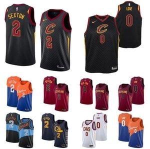 2020 Men basketball ClevelandCavaliers2 ColinSexton 23 James 0 Love black red city version swingman sleeveless jersey pant