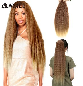"2020 New 2020 New Noble Kinky Straight Hair Ombre hair bundles 1 Pcs 28""-32"" Super Long Synthetic Hair For Women 120g"
