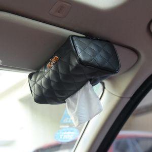 1pc pare-soleil chaise type suspendu voiture à l'intérieur en cuir PU Couverture Tissue Box de pompage papier auto voiture Accueil serviette Case Holder