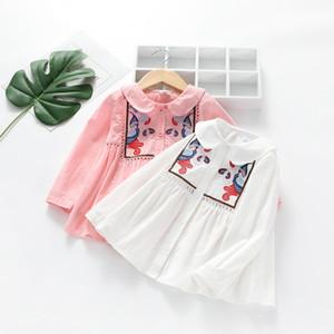 Girls shirts skirts 2019 new spring shirt dresses baby lapel hollow long sleeve children bottoming undergarment girl spring geometric blouse