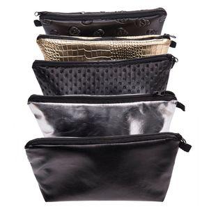 검은 해골 솔리드 컬러 화장품 가방 여성 PU 가죽 메이크업 가방 화장품 주머니 가방 여행 주최자