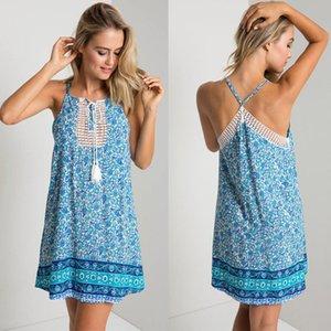 2016 mais novo Mulheres Lace Up Halter vestido sem mangas floral do verão impressão deslizamento Casual estilo Vestido País vestido do verão