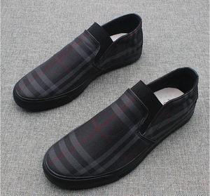 Primavera 2019 nueva marca Negro y caqui zapatos de lona lujosos hombres de la marca mocasines negro lona de cuero plantilla de los hombres zapatos casuales de los hombres