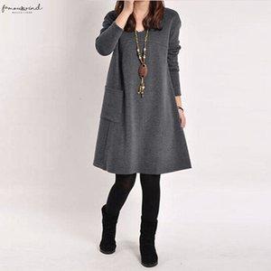 Oversize Women Autumn Winter Dress One Piece V Neck Long Sleeve Long Sleeve Dress Plus Size Female Casual Spring Midi Dress Vestidos