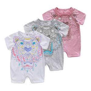 Горячая распродажа детская летняя одежда мягкий хлопок письмо животных печати милый комбинезон с коротким рукавом детская одежда ползунки