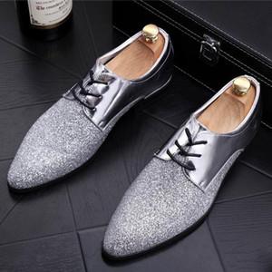 Moda İleri Erkekler Kırmızı Elbise Parti Groom 38-43 İçin Sivri Burun Gümüş Bling Glitter Düğün Ayakkabı Man Boş Shoes