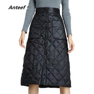 Anteef плюс размер черный 2019 высокой талии одежды осень зима Saia случайные свободные миди юбки женские юбки Юп женский уличной