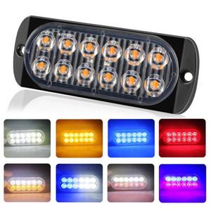 Flash ambra 12-LED camion dell'automobile di emergenza Lampeggiante Hazard Strobe Light Bar ultrasottile Attenzione Light Side ardore Car