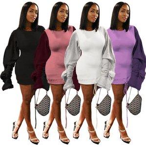 Sexy Club Women Mini robes à volants Puff brossé Hiver Automne élégant lambrissé long cordon de serrage à manches volantées Jupes longues Femmes Vêtements W821