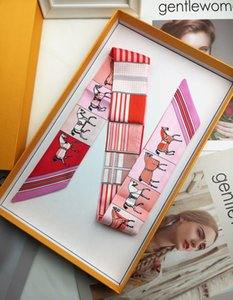2019 New Pattern Horse Print Lady women Bags Scarf Small Ribbon Hair Band Silk Squares Scarf Tied Bag