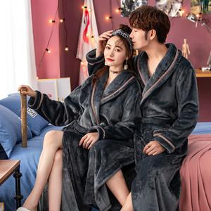 Nouveau hiver chaud épais femmes molleton à encolure en V Kimono Robe Lovers Couple Nightgown bain robe de nuit Hommes Taille XXL Notte