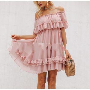Lotus Leaf Edge Dress Camisole без бретелек платья рябить с цельной юбкой шифон дамы летний пляж Грейс 58ms f1