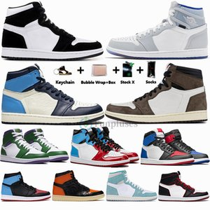 Nike Air Jordan Retro 1 Big Size 13 mit dem Kasten 1s Travis Scotts Zoom Racer UNC 1s Herren-Basketball-Schuhe Twist Obsidian Fearless Jumpman Trainer-Designer-Sport-Turnschuh