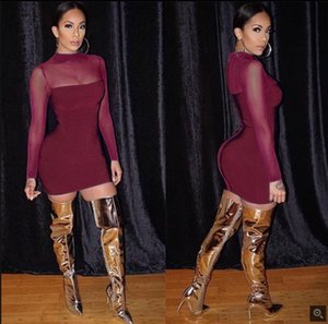 Gauze Perspective Sexy Womens Dresses Long Sleeve Summer Skinny Above Knee Dress Casual Slim Women Solid Color Clothing