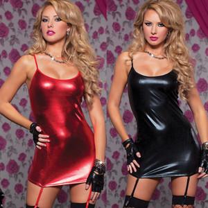 Горячий Новый Лучший Продавец Мода Сексуальная лакированная кожа Пижамы Женское Платье Нижнее Белье Babydoll Пижамы Твердые Платья