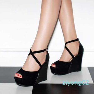 Wholesale-Ladies Wedge Sandals Sexy Peep Toe Cross Strap Platform High Heels Woman Summer Party Shoes New 2015 z02