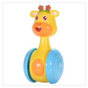 Dibujos animados Jirafa Tumbler Doll Roly Poly Baby Toys Cute Sonajeros Anillo Bell Recién nacidos Juguete educativo temprano Niños