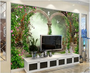 3d landscapes wall custom mural wallpaper Fantasy garden flower arch stone TV sofa background wall 3d mural on the wall stickers