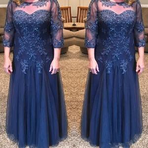 Dark Navy Blue Mother of the Bride Dresses Beaded Appliques Lace Tulle Floor Length A Line Fomal Evening Dress Party Gown Plus Size