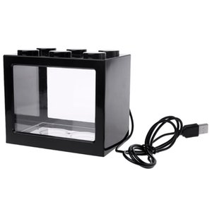 Mini Aquarium Usb Led Light Lamp Fish Tank Home Office Tea Table Decoration Small Building Block Fish Tank