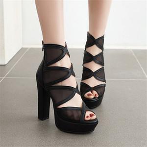 Pxelena Vintage Super High Heels gladiator Sandals Women Mesh Peep Toe Hollow Out Punk Rock Gothic Shoes Black Bege Plus Size