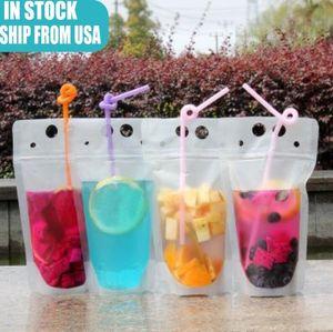 De valores de EE.UU. 100pcs bebida claro bolsas de los bolsos de la cremallera helado de pie de plástico de bebida Bolsa de paja con soporte puede volver a cerrar a prueba de calor