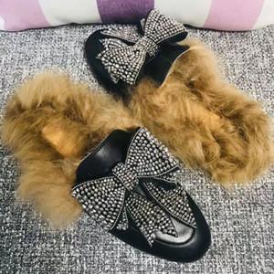 RASS PLE 2019 Real Fox Fourrure De Fourrure Diapositives Chaussures Chaussures Furry Fuffly Slipper Tongs Sandales Sliders Drag Sandal D'été Chaussures Femmes