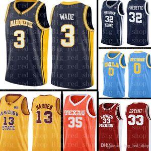 Costada NCAA Jersey Dwyane 3 Wade Basketball Jerseys Mens NCAA Universidad Barato al por mayor Jersey Bordados Logotipos