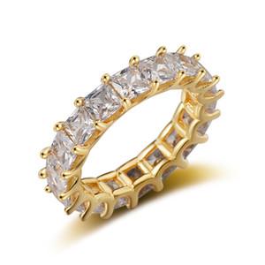 Mulheres Luxo Eternity casamento banda anel Princesa Cut cúbica de jóias Zircon Moda Feminina aniversário presente praça cheia CZ Anéis