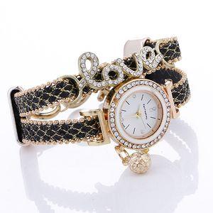 Infinito Reloj de pulsera Pulsera de moda Relojes Diamantes Amor Cuero Relojes de pulsera Mujeres Relojes de cuarzo Caja redonda Gota Envío gratis