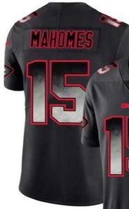 2020 Hombre Kansas City 15 Jersey Camisetas Hombre Negro Smoke Fashion Limited Jersey Camisetas de fútbol americano