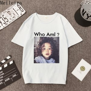 Meileiya suelta camiseta blanca de manga corta para mujeres, cientos de camisetas, estudiantes, ropa de manga corta de verano.