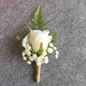 Fiore artificiale all'occhiello sposo Boutonnieres Best Man corpetto Wedding Flowers Bouquet Accessori Pin partito Suit Decoration