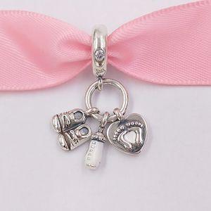 Beads de prata esterlina autêntica 925 Meu pequeno bebê Dangle Charm Charms se encaixa na Europa Pandora estilo jóias pulseiras colar 798106cz