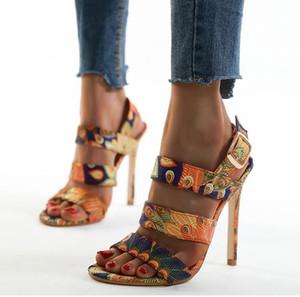 Hot Sale-Plus Size 35 Para Floral Impresso Strappy Designer Salto Alto Sapatos Moda Verão