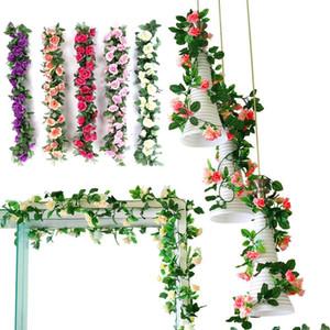 زهرة وردية وردية مصطنعة محاكاة الزهور Vines 2.4 M أزياء جميلة محاكاة الدعائم الفوتوغرافية الاحتفالية