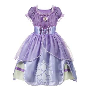 Kıyafet Giyim yukarı Cadılar Bayramı Fantezi Giydirme için 2020 Mor Kızlar Sofya Princess Kostüm Çocuk 5 Katmanlar Çiçek Sophia Parti Elbise Kız