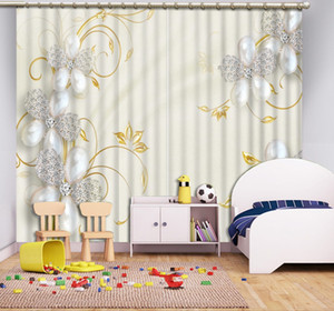 Customize 3d Curtains Jewelry flowers Blackout Curtains Living room Room Bedroom Window 3D