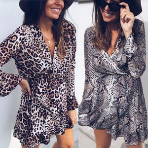 Neue reizvolle Frauen-Kleid-Leopard-Schlange-gedruckt Langarm V-Ausschnitt-Partei-Abend-Verpackungs-Kleid-Frauen Rüschen-Kleid