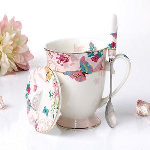 Tazze e tazze di ceramica di alta qualità Bone China tazze di caffè con coperchio e cucchiaio avanzata Porcelain Cup Bicchieri