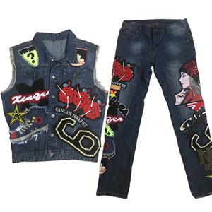Мужчины мотоцикл джинсы наборы 2020 осень блесток вышивка красоты письмо значок джинсовый набор мужской промытый жилет + прямые тонкие сшитые джинсы