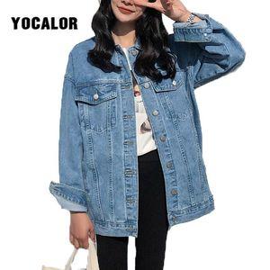 YOCALOR sólido Jean Jeans Chaqueta para mujeres suelta Casual azul mujeres abrigos Mujer Outwear Denim femenino Chaqueta Mujer abrigo otoño