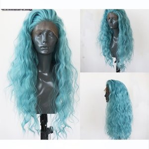 Beautiful Diary Blue Lace Front Wig High Temperature Fiber Water Wave Hair Wigs Long Wigs Synthetic Lace Front Wig For Women