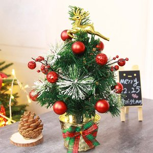 30cm Golden Elk Decorate Artificial Flocking Christmas Tree Multicolor Holiday Xmas Window Christmas Decorations For Home