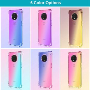 Gradient color anti knock cover Case For OnePlus 7 7T Pro One Plus 7 T Pro Coque Rainbow Soft Coque