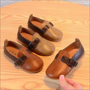 Kids Shoes 2020 Primavera Unisex Rapazes Meninas macias Loafers Deslizamento-em PU Calçados de couro para Crianças Size26-36 mocassim Criança Sneakers # 47