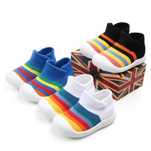 SWONCO High Top Sneakers Baby Shoes Elastic Sock Sneakers For Small Baby Anti-Slip Soft Breathable Mesh Knitting Shoes Rainbow