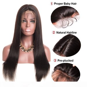 L Straight Human Hair Full Lace Wig Brazilian Virgin Hair Cheap Full Lace Human Hair Wigs 10 -26 Inch Free Shipping Straight Lace Wig