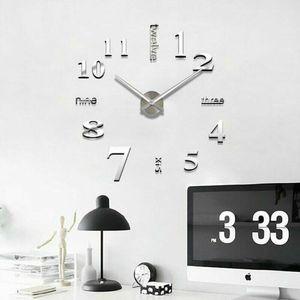 Moderne DIY 2019 nouveau réel salon horloges 3D miroir sticke grande horloge murale décoration de la maison acrylique DIY montre autocollants